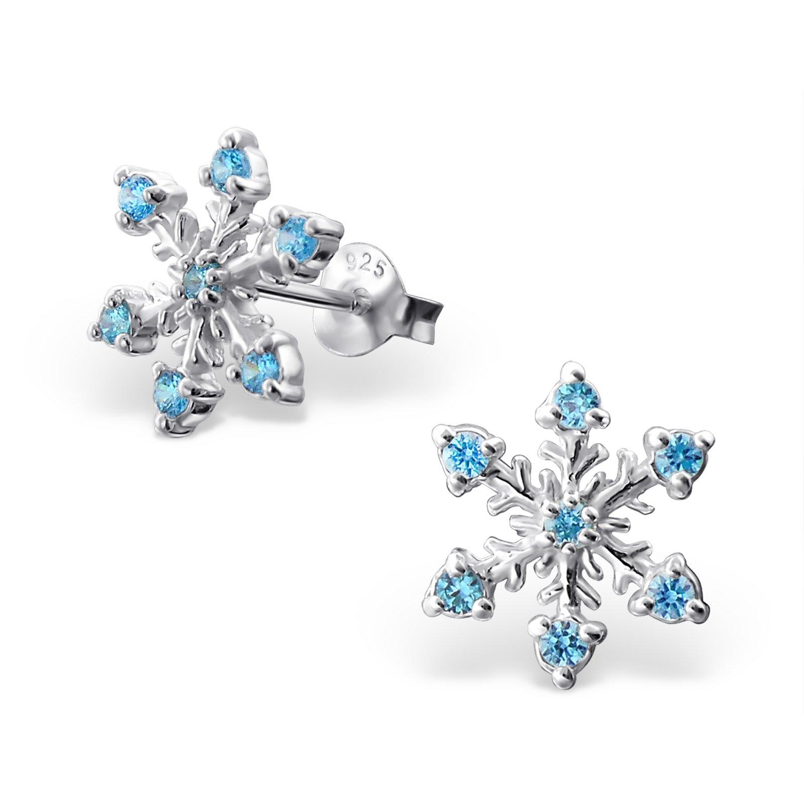 Atik Jewelry Silver Snowflake Ear Studs With Cubic Zirconia - CZ Aqua