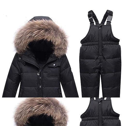 19e1590e0 Amazon.com  Winter Children Clothing Set Parka Real Fur Hooded Boy ...