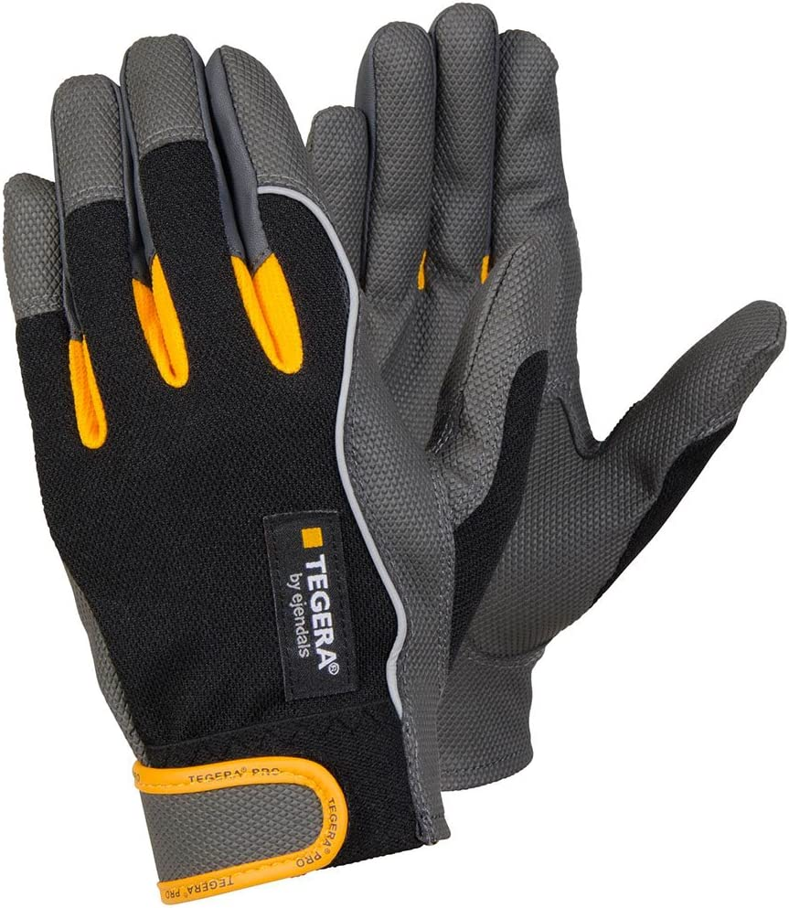 Ejendals 9120-10 Size 10Tegera 9120 Synthetic Leather Glove Black//Grey//Yellow