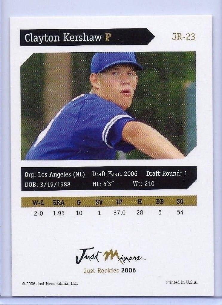 CLAYTON KERSHAW 2006 JUST MINORS 1ST EVER PRINTED ROOKIE CARD LOS ANGELES DODGERS!