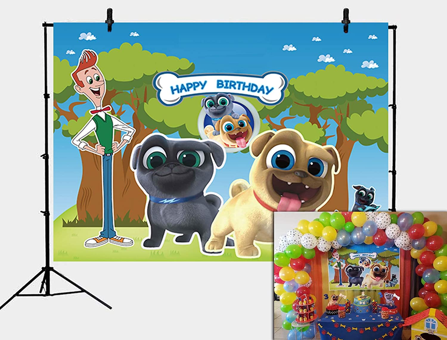 Daniu Cartoon Puppy Dog Pals Theme Backdrop Kids Birthday Party Photography Background Cake Table Decor Banner Baby Shower Photo Studio Booth Props ...