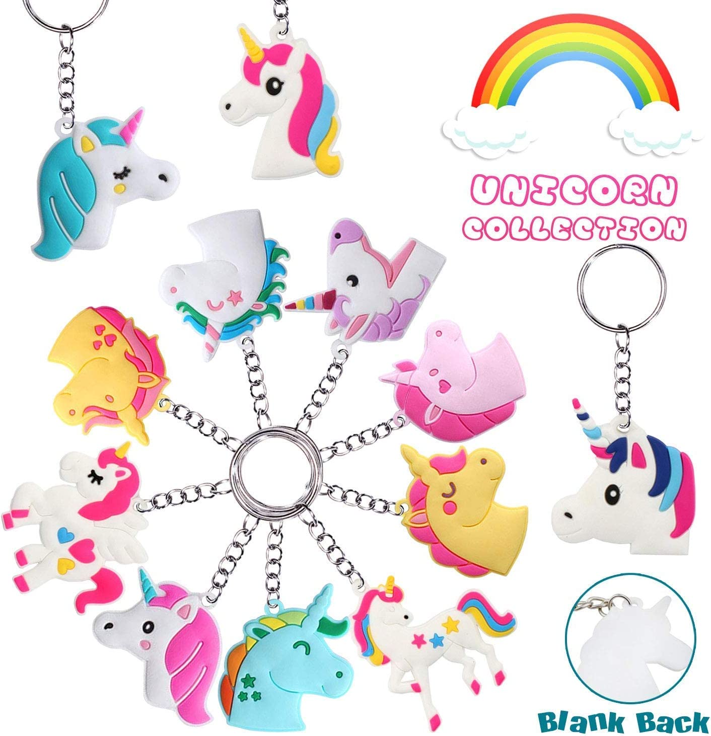 Libershine Llavero Unicornio 48 Piezas Rainbow Unicorn Keyring ...
