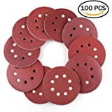 5 Inch 8-Hole Hook and Loop Sanding Discs by LotFancy - 100PCS 40 60 80 100 120 180 240 320 400 800 Grit Assorted Orbital Sander Round Sandpaper