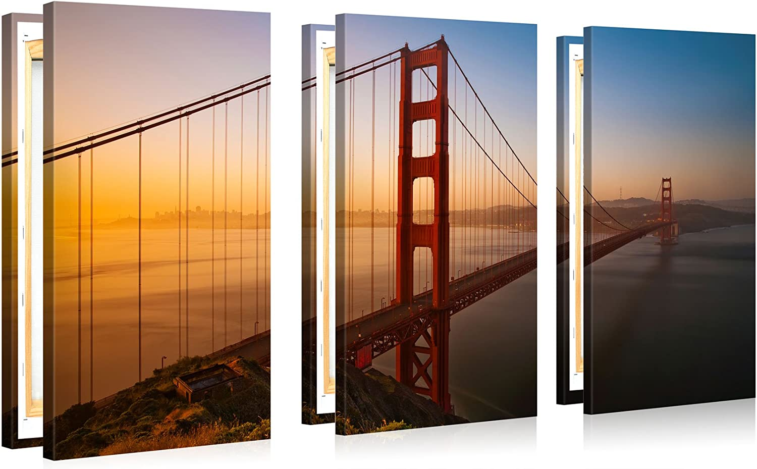 Very Artistic Large Canvas Print Wall Art Golden Gate Bridge 48x30 In 3 Pcs San Francisco Cityscape Canvas Picture Stretched On Wooden Frame Giclee Canvas Printing Hanging