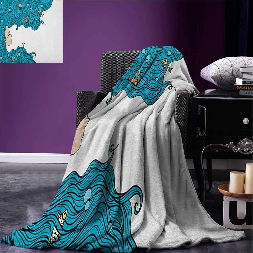 Underwater cool blanket Girl with Oceanic Hairstyle Fishes and Crab in Waves Imaginary Artwork Pattern Petrol Blue White size:50''x60''