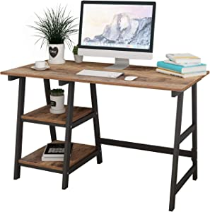 Soges 47 Inches Computer Desk Trestle Desk Writing Home Office Desk Hutch Workstation with Shelf Rustic Brown CS-Tplus-120FG
