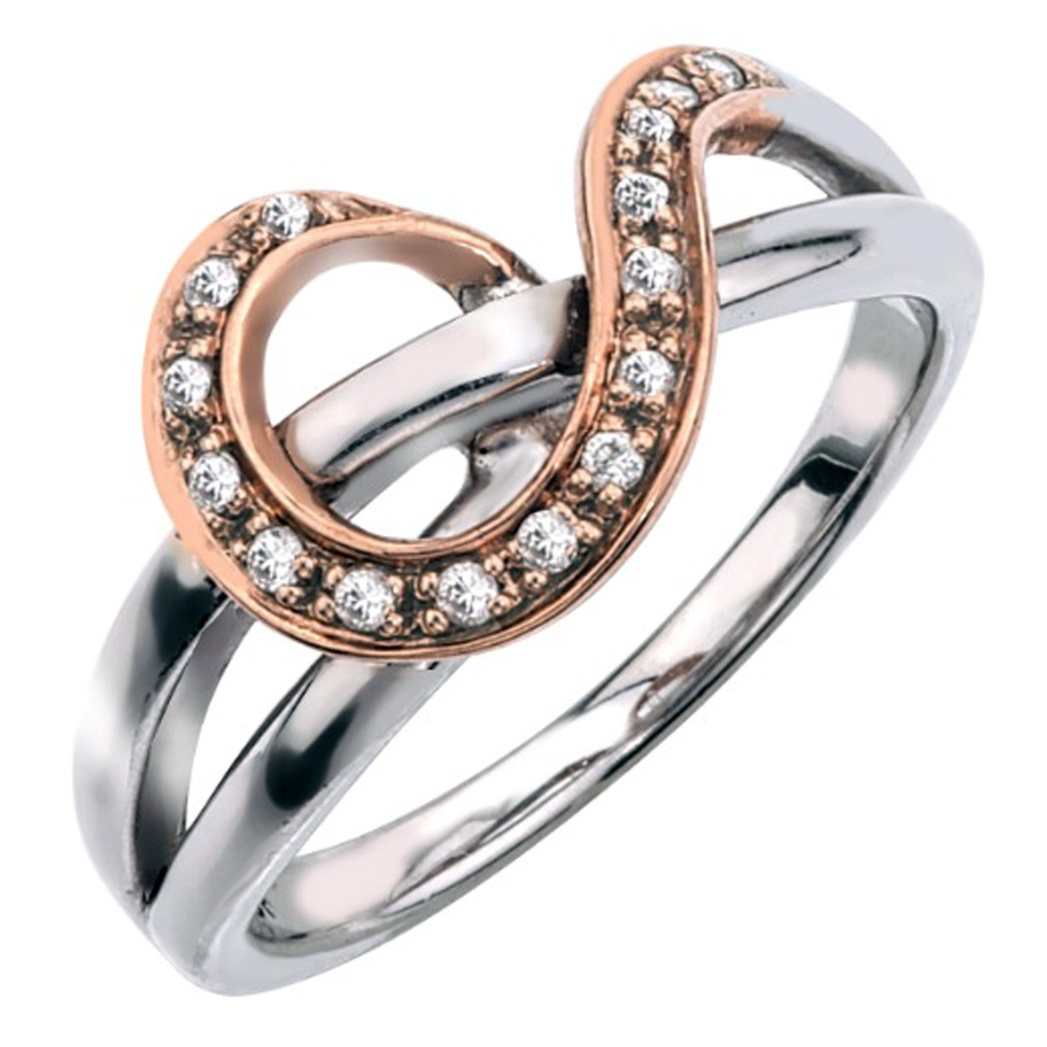 Diamond Ring in 10K Rose Gold Plated Sterling Silver (0.10 carats, H-I I2)