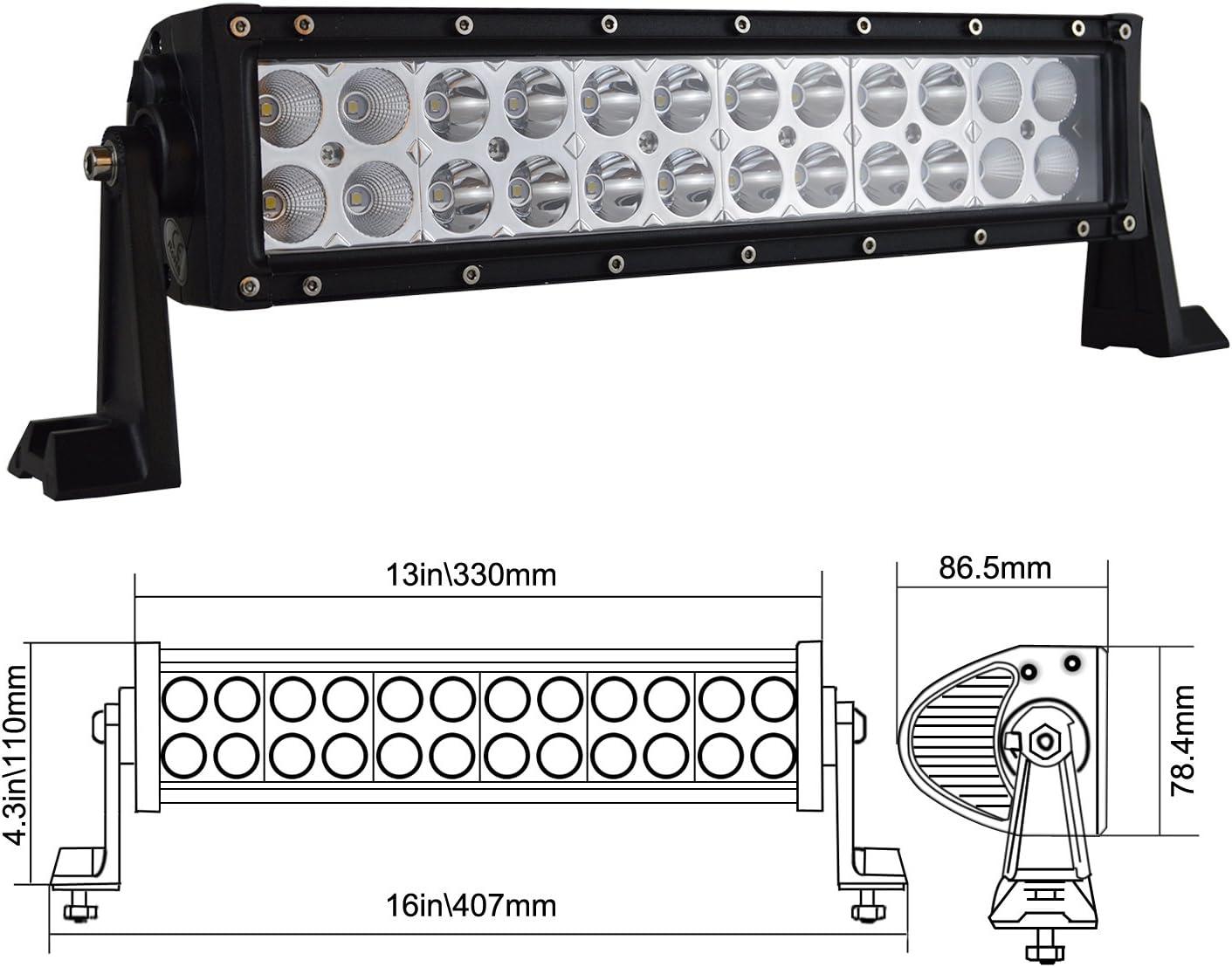 Auxtings 12 35,6 cm 72 W LED Barre de lampe de travail Flood spot Off Road Camion SUV 4 WD Conduite Feux de Brouillard
