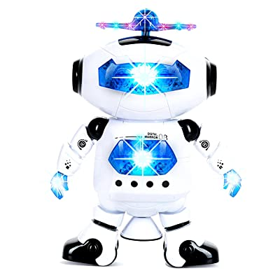 WOGO Toys Electronic Dancing and Walking Robot Toy with Colorful Flashing Lights/Wonderful Music and 360° Swivel Function for Kids, Boys, Girls. (White)