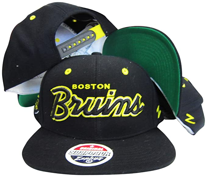 1da20cca8 Amazon.com: ZHATS Boston Bruins Black Script Snapback Adjustable ...