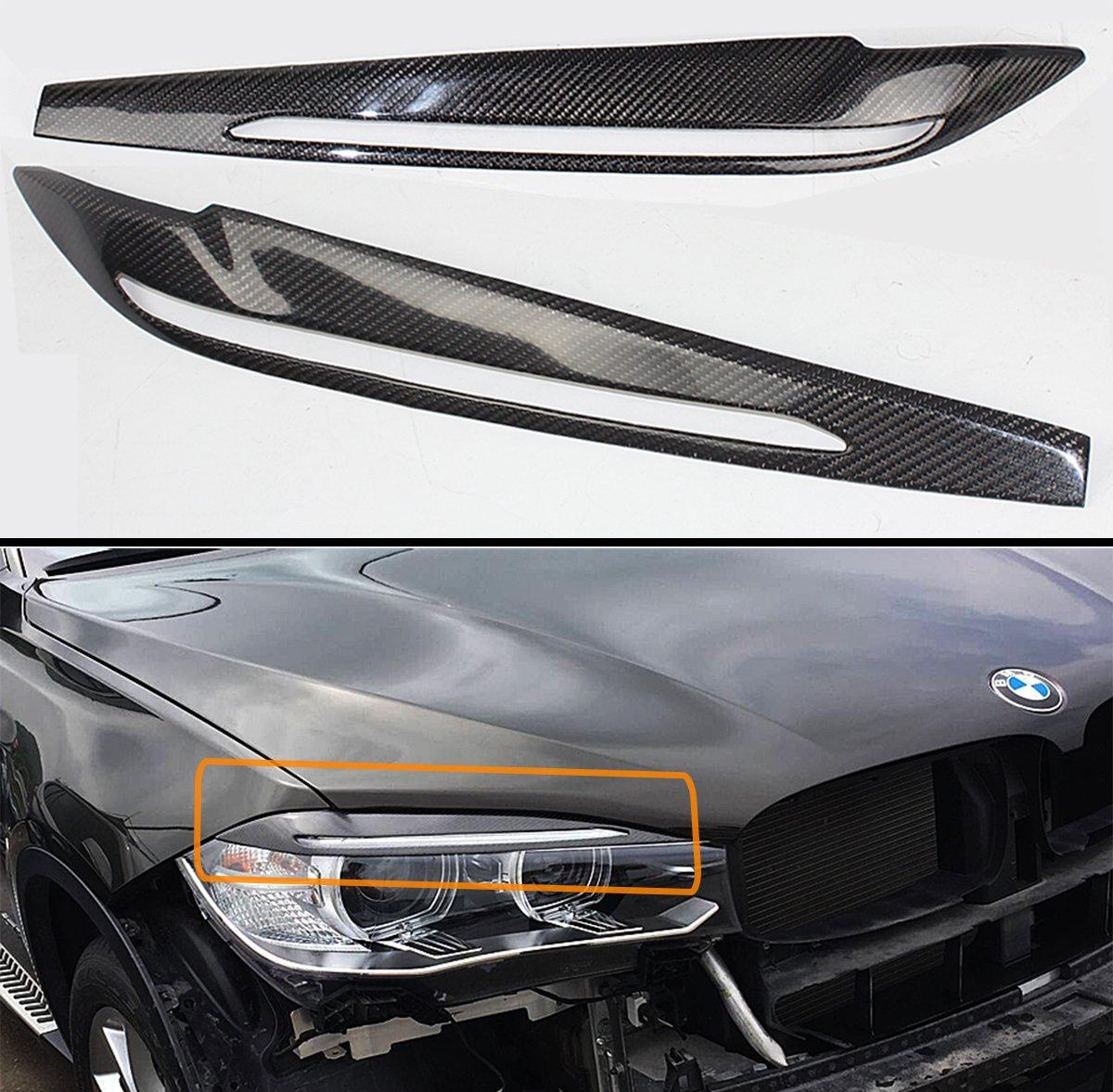 Cuztom Tuning for 2015-2018 BMW F15 X5 F85 X5M F16 F86 X6 X6M Carbon Fiber Headlight Eye LID Cover Pair Eyebrow