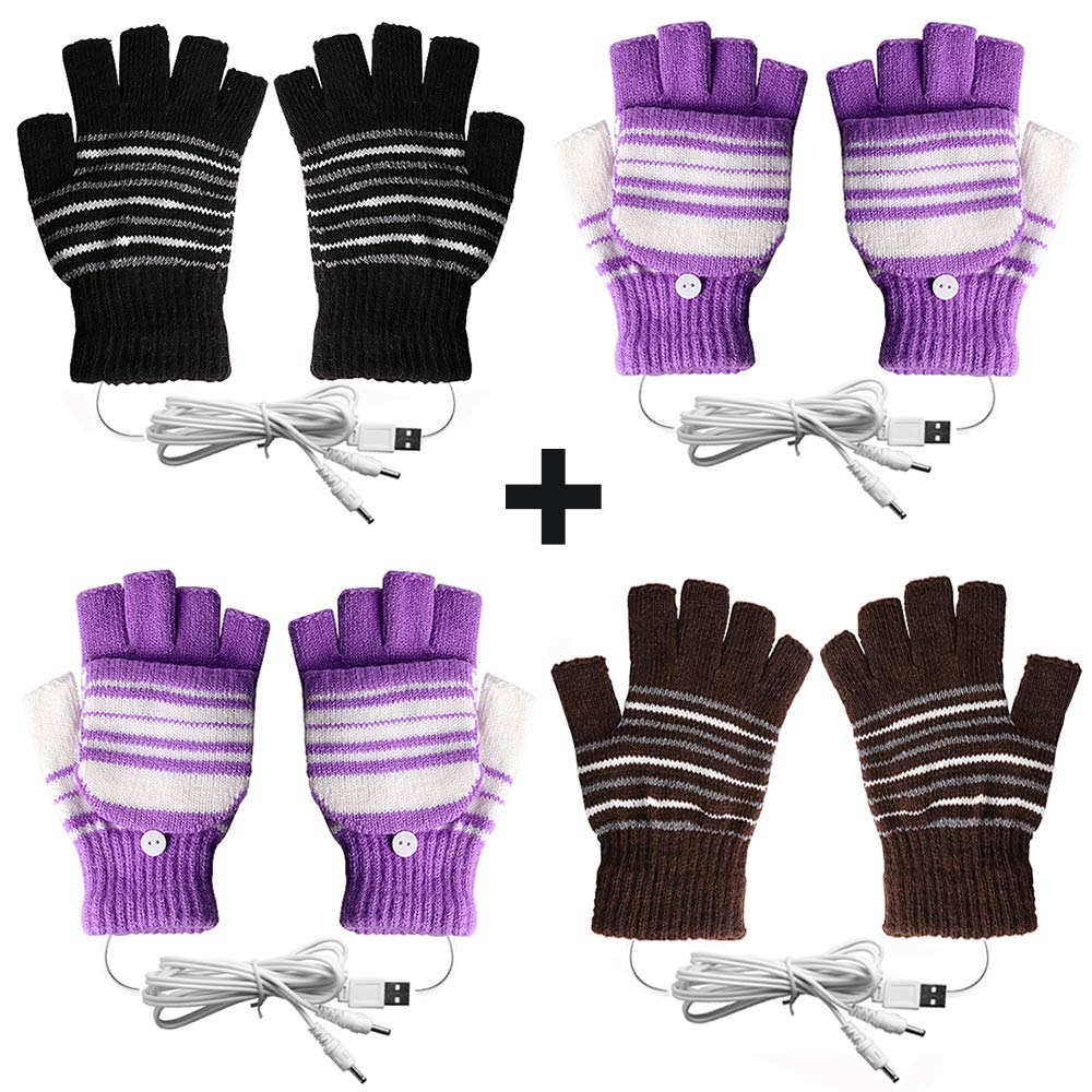 [4 Pack] USB Heated Gloves for Men and Women Mitten, AIKIN USB 2.0 Powered Stripes Heating Pattern Knitting Wool Heated Gloves Hands Warmer Laptop Gloves Fingerless Washable (2Purple+1Black+1Brown) by AIKIN