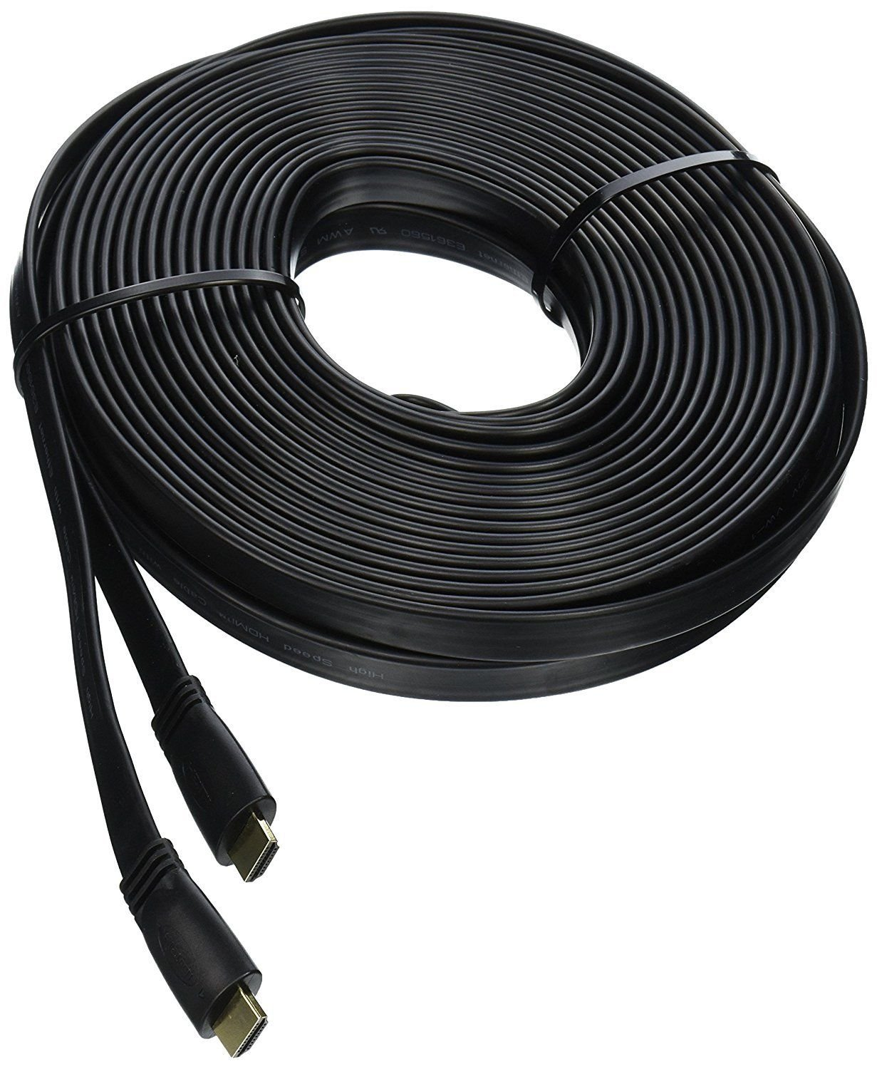 CableVantage FLAT HDMI Cable 50FT Cord Supports 3D Ethernet 1080P Audio Return, HDTV to Satellite Box Home Theater Video Game,For PC TV Monitors PS4 Xbox One Black