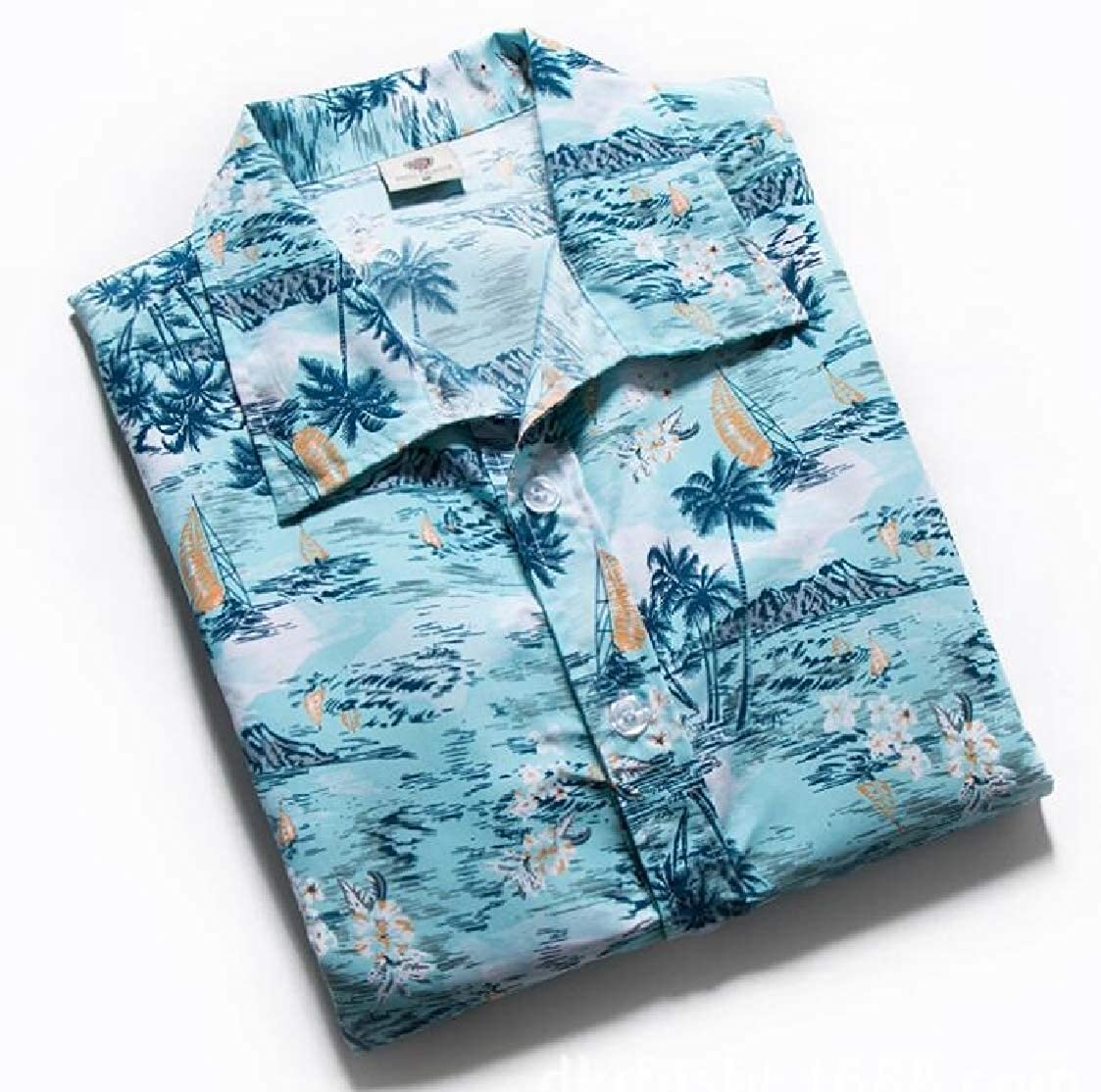 Nanquan Men Sun Protection Short Sleeve Hawaiian Beach Button Down Shirt Tops