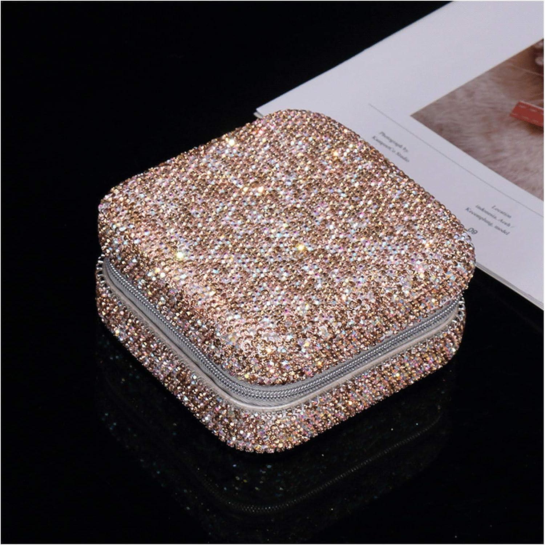 Joyero Caja De Joyería De Viajes Caja De Anillos De Anillo Pequeño Diamante Joyería Diamante Caja De Almacenamiento De Joyería Portátil Regalo de joyería (Color : Champagne)