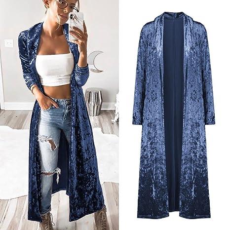 Kolylong® Strickjacke Damen Frauen Elegant SAMT Lang Strickjacke Mode  Frühling Cardigan Langarmshirt Vintage Oversize Mantel Kimono Jacke Outwear  Bluse  ... c9e2c0cc88