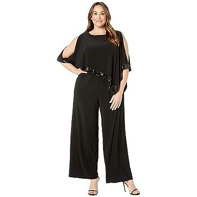 Adrianna Papell Plus Size Matte Jersey Capelet Jumpsuit Black 14W: Clothing