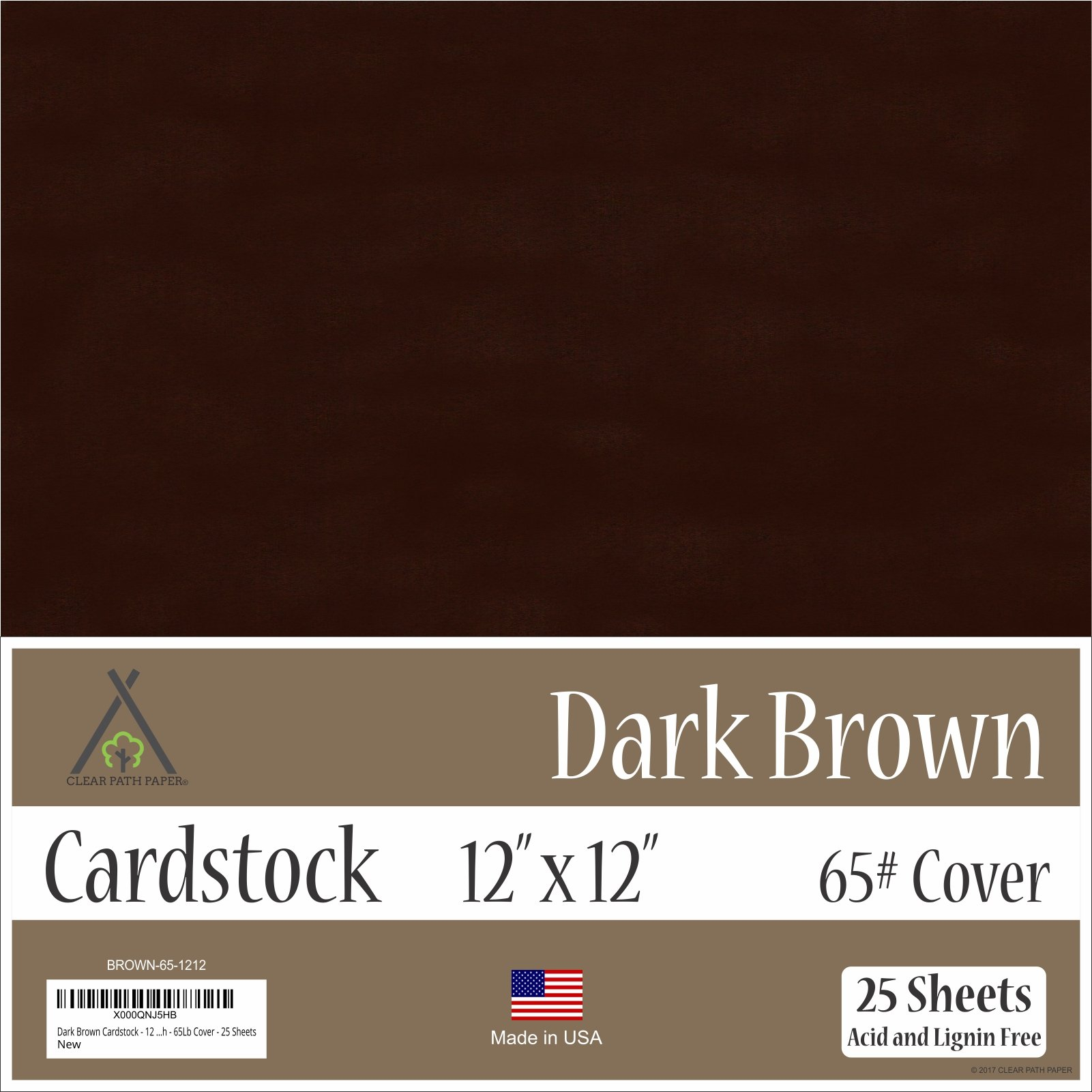 Dark Brown Cardstock - 12 x 12 inch - 65Lb Cover - 25 Sheets