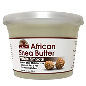 OKAY | African Shea Butter | For All Hair Textures & Skin Types | Daily Moisturizer - Soothe Irritation| White Smooth Refined| All Natural | 13 Oz