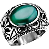 Men's Stainless Steel Oval Crystal Openwork Celtic Cross Ring Band Vintage Gothic Biker Punk Silver Green