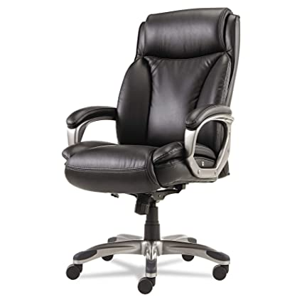 Alera Veon Series Executive High Back Leather Chair With Coil Spring  Cushioning, Black