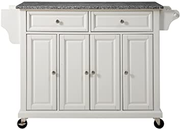 Brilliant Crosley Furniture Rolling Kitchen Island With Solid Grey Granite Top White Download Free Architecture Designs Scobabritishbridgeorg
