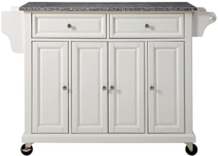 Crosley Furniture Rolling Kitchen Island With Solid Grey Granite Top   White