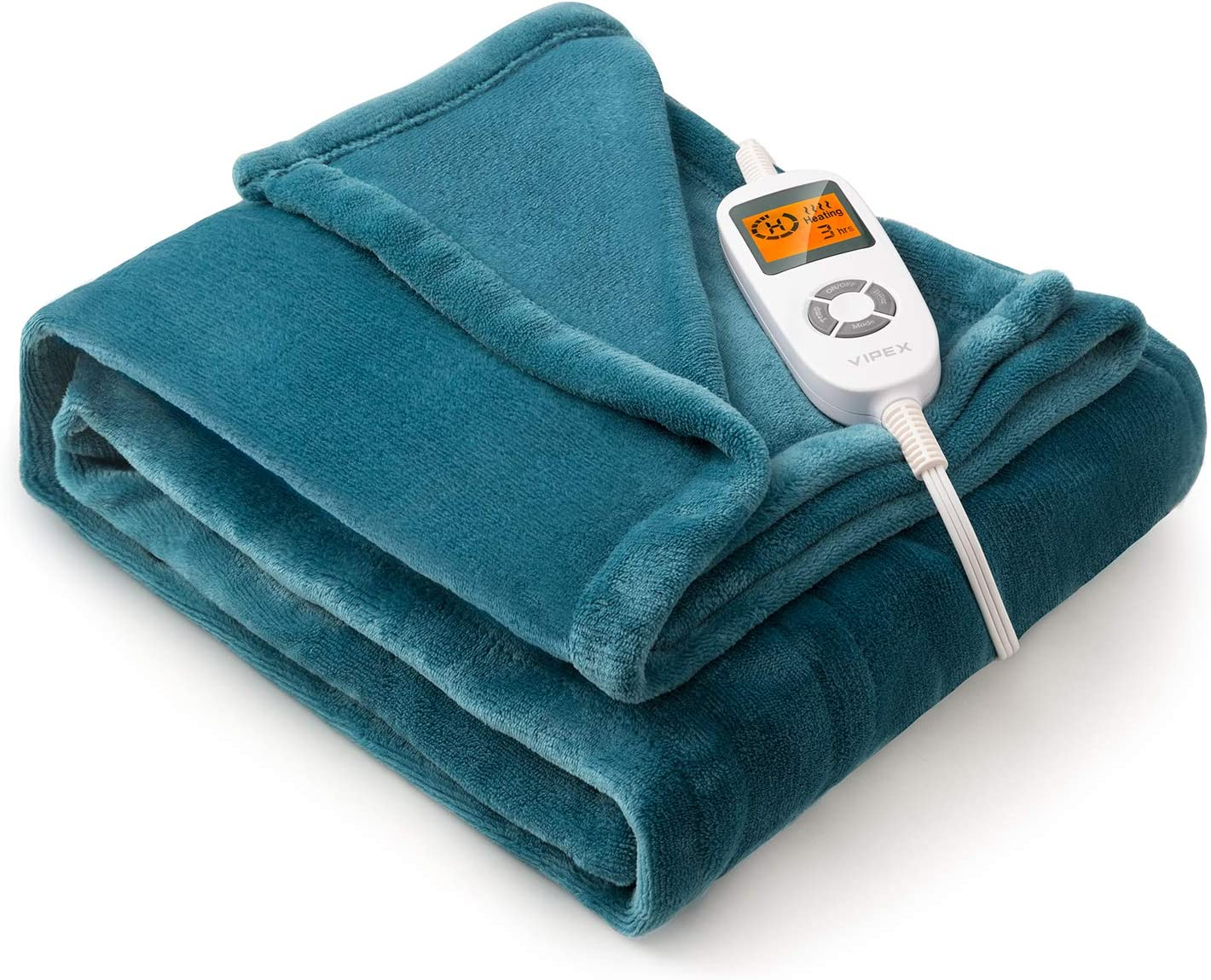 "VIPEX Heated Blanket Electric Throw, 50"" x 60"" Flannel Electric Blanket with 10 Heating Levels & 3 Timer Settings Auto-Off, Travel Home Office Use, ETL Certified, Machine Washable, Forest Green"