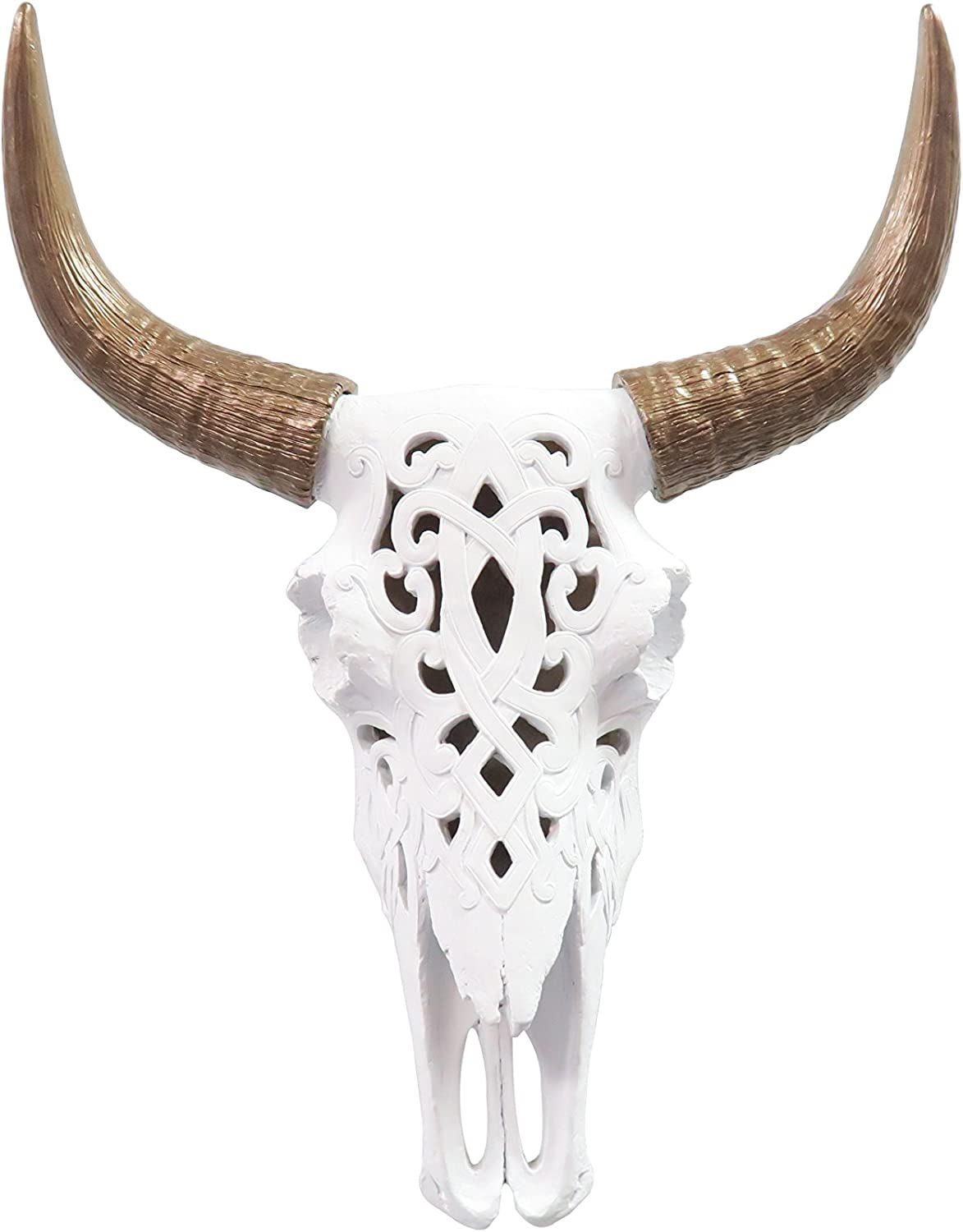 Near and Deer Faux Decorative Carved Cow (Bison) Skull Wall Mount, White/Bronze