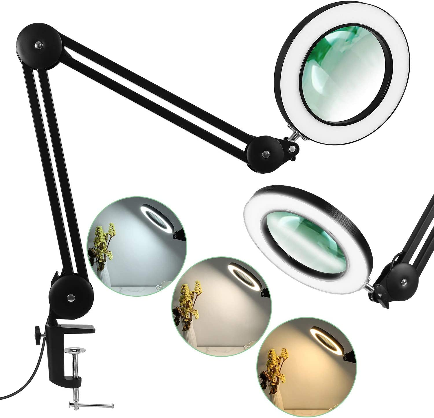 LANCOSC Magnifying Glass with Light for Close Work, 5-Diopter, 3 Color Modes, Stepless Dimmable, Adjustable Swivel Arm with Clamp, LED Magnifier Desk Lamp for Repair, Crafts, Reading, Sewing - Black