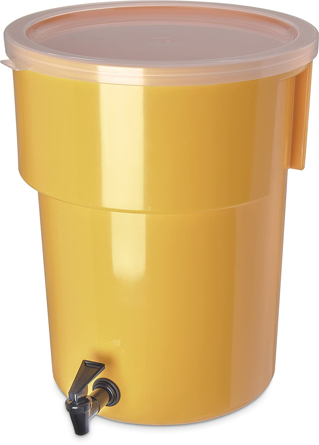 "Carlisle 221004 Polyethylene Round Beverage Dispenser, 5 gal. Capacity, 12.37"" Dia. x 15.43"" H, Yellow"