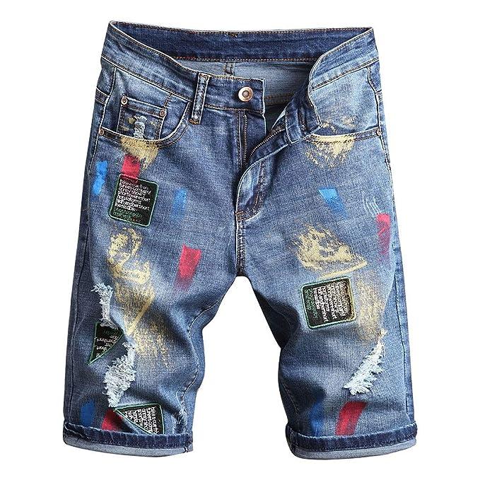 JURTEE Pantalones Cortos Hombre Vaqueros Tallas Grandes Nuevos Huecos Impresión Tejanos Shorts De Verano