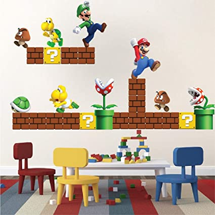 Super Mario Stickers for Games Room - Super Mario Decal Game Room Vintage  Nintendo Wall Designs Wall Murals Decor Art, n71