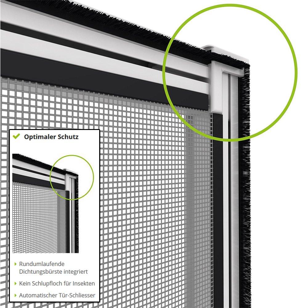 Insektenschutz T/ür T/üren mit Alurahmen 100 x 215cm proLINE grau