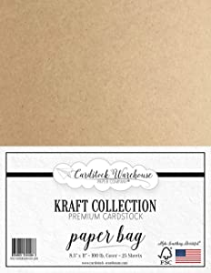 Paper Bag Kraft 100% Recycled Cardstock - 8.5 X 11 inch - Premium 100 LB. Heavyweight Cover - 25 Sheets from Cardstock Warehouse