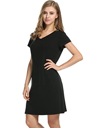 08600f2852 Avidlove Womens Short-Sleeve V-Neck Nightie Sleep Shirt Viscose ...