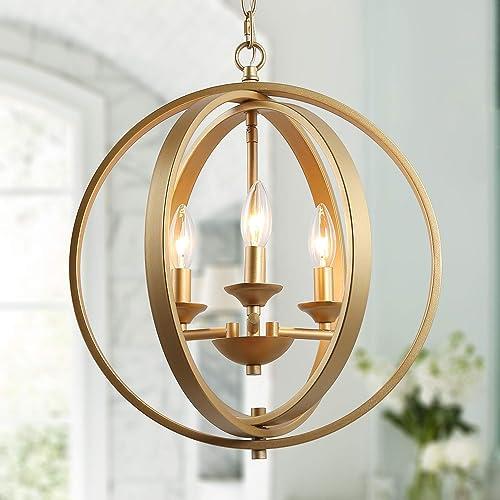 Editors' Choice: KSANA Gold Orb Chandelier Modern Globe 3 Light Fixture