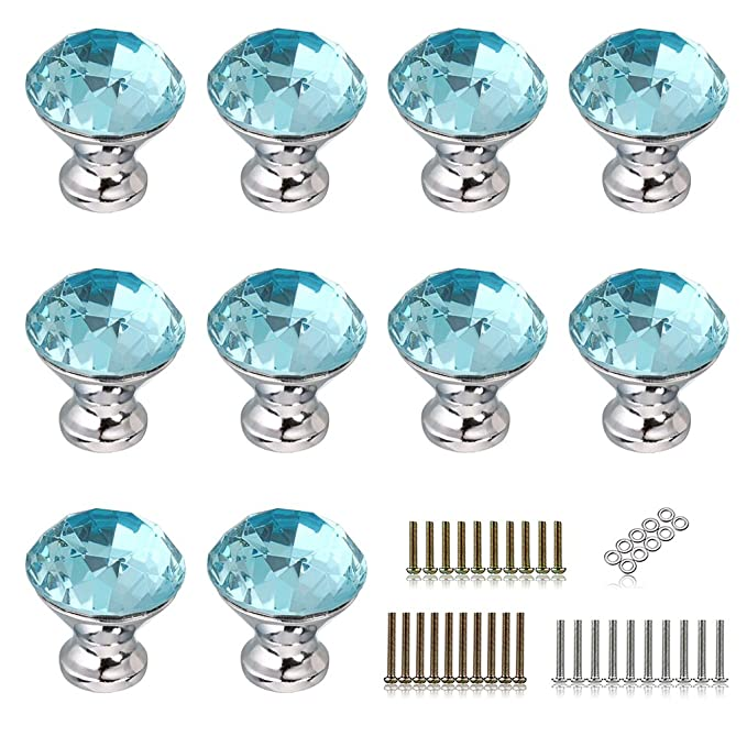 BTSKY 10 PCS 30mm(1.18inch) Clear Glass Crystal Cabinet Knobs ...