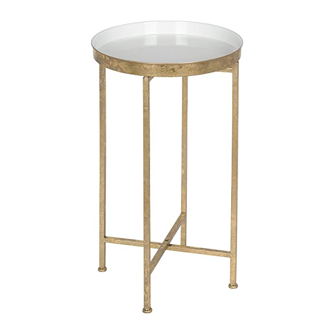 Kate And Laurel 212375 Celia Round Metal Foldable Tray Accent Table, White And Gold by Kate And Laurel