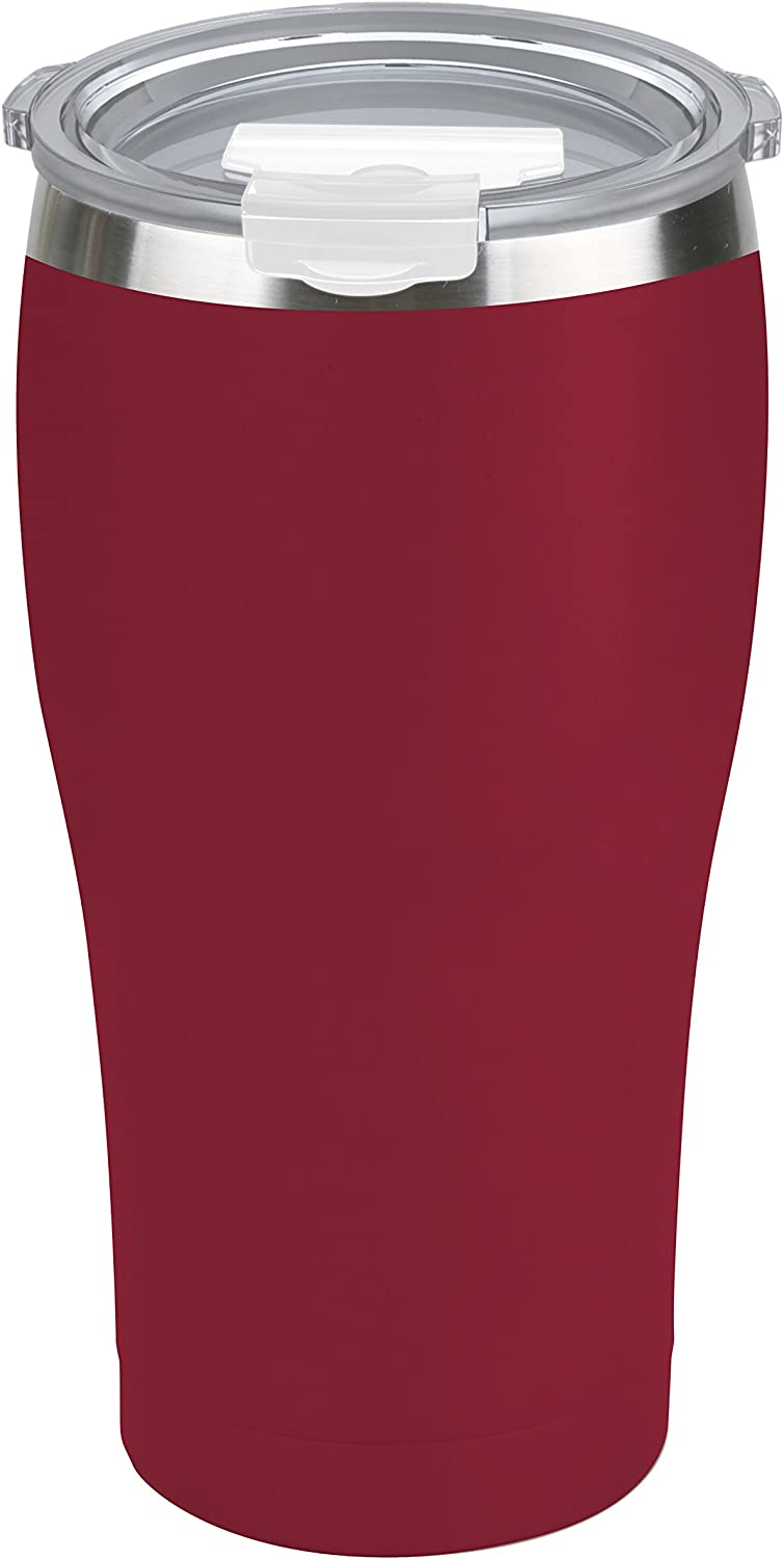 Tahoe Trails 30 oz Stainless Steel Tumbler Vacuum Insulated Double Wall Travel Cup With Lid, Crimson Red