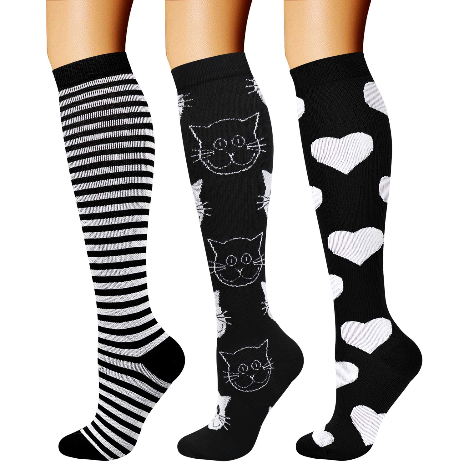 CHARMKING Compression Socks (3 Pairs) 15-20 mmHg is Best Athletic & Medical for Men & Women, Running, Flight, Travel, Nurses, Edema - Boost Performance, Blood Circulation & Recovery (S/M, Assorted 30) by CHARMKING