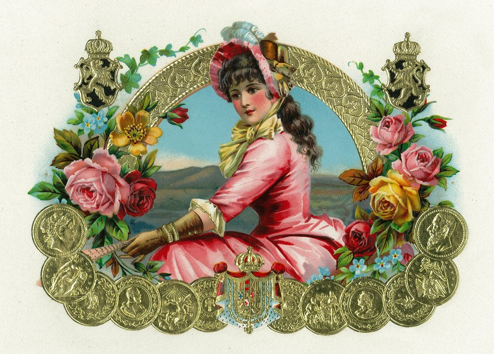 View of a Lady Holding aファンwith花とMedalsシガーボックスラベル 36 x 54 Giclee Print LANT-27952-36x54 36 x 54 Giclee Print  B01MG3B3YX