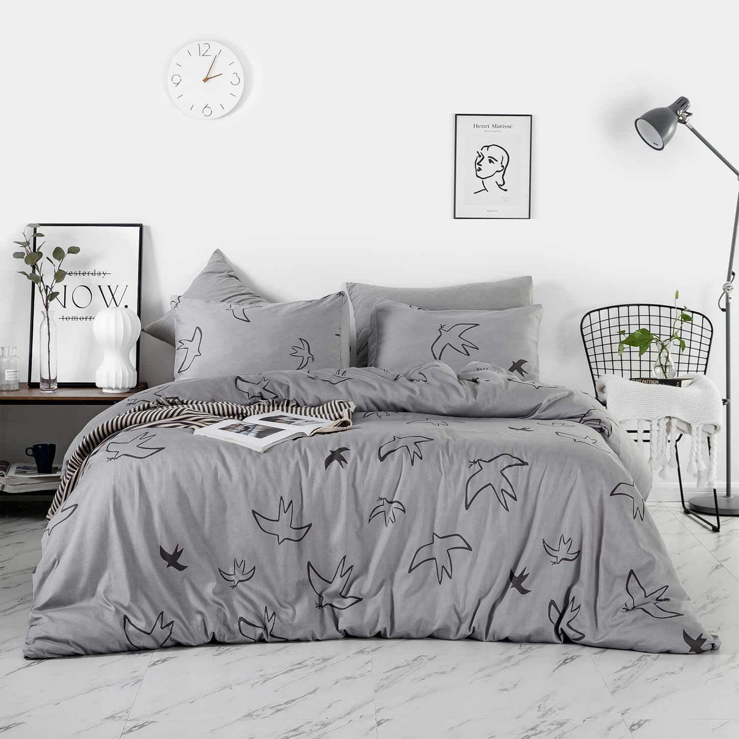 SUSYBAO 3 Piece Duvet Cover Set 100% Egyptian Cotton King Size Grey Animal Print Bedding Set 1 Seagull Birds Pattern Duvet Cover with Zipper Ties 2 Pillowcases Luxury Quality Ultra Soft Breathable
