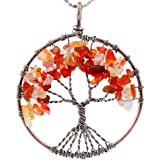 SUNYIK Tumbled Stone Tree of Life Pendant,Handmade Wire Wrapped Heaing Jewelry