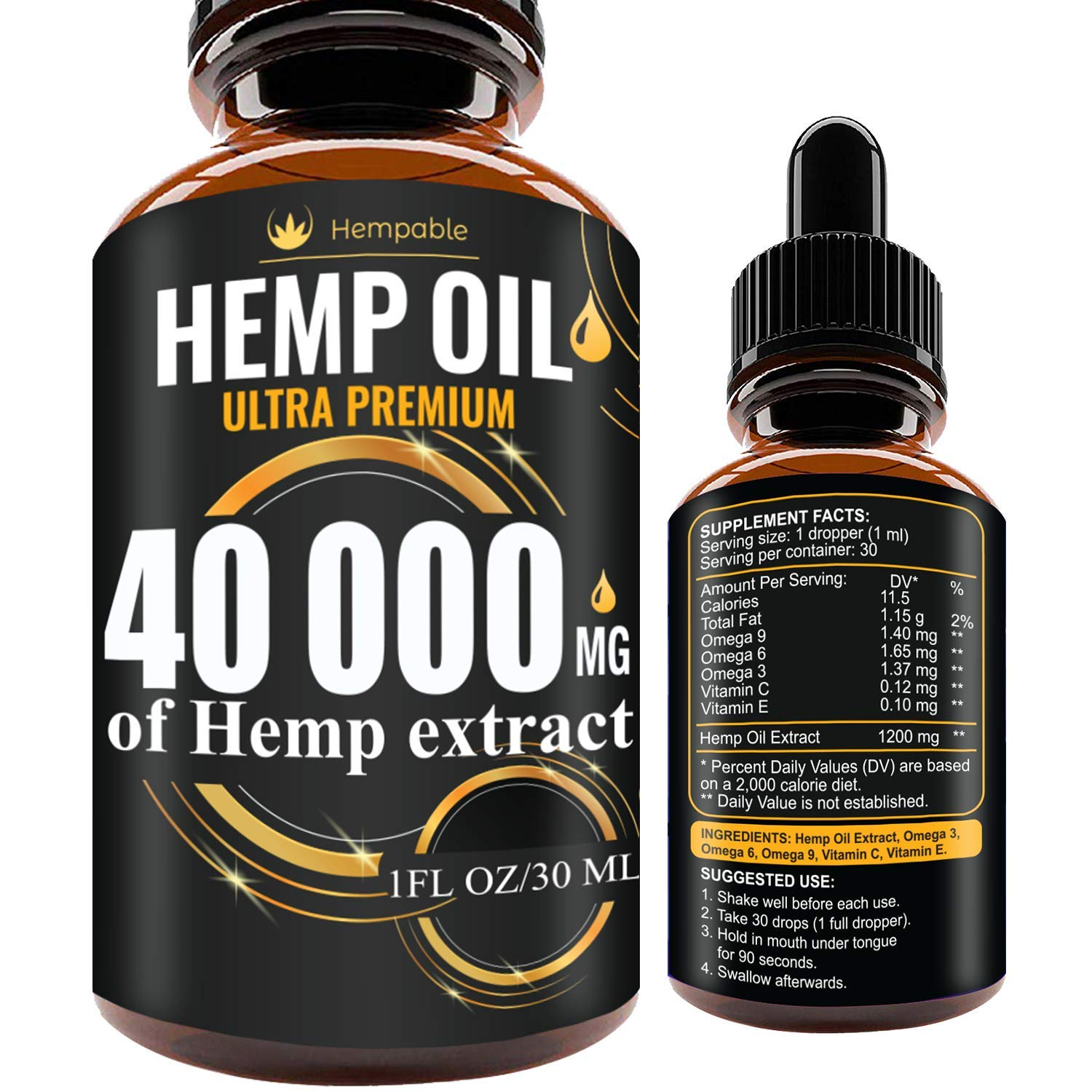 Hemp Oil Drops 40 000 mg, Co2 Extracted, Made in USA, Help Reduce Stress, Anxiety and Pain, 100% Natural Ingredients, Vegan Friendly, GMO Free by Hempable