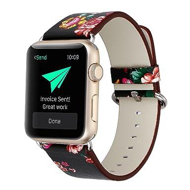 Banda para Apple reloj 42 mm, piel sintética Ramida reloj pastoral floral serie reloj inteligente