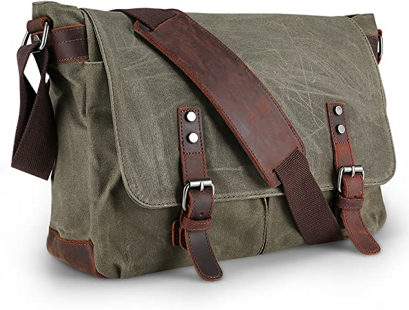 Waterproof Messenger Bag Mens, AIZBO Man Bags Cross Body Canvas Shoulder Bag  Satchel Bag Laptop Bag for 15 Inches, Large Size (Army Green):  Amazon.co.uk: Luggage