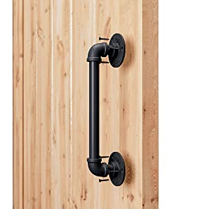 "SMARTSTANDARD 12"" Pipe Barn Door Handle Black Rustic Industrial Style Handle Bar Pull for Gate Cabinet Shed Door"