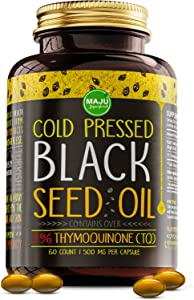 MAJU's Black Seed Oil Capsules - Cold Pressed, 3X% Thymoquinone, 100% Turkish Black Cumin Nigella Sativa Seed Oil, Organic BSO, Non-GMO, 100% Liquid Pure Blackseed Oil