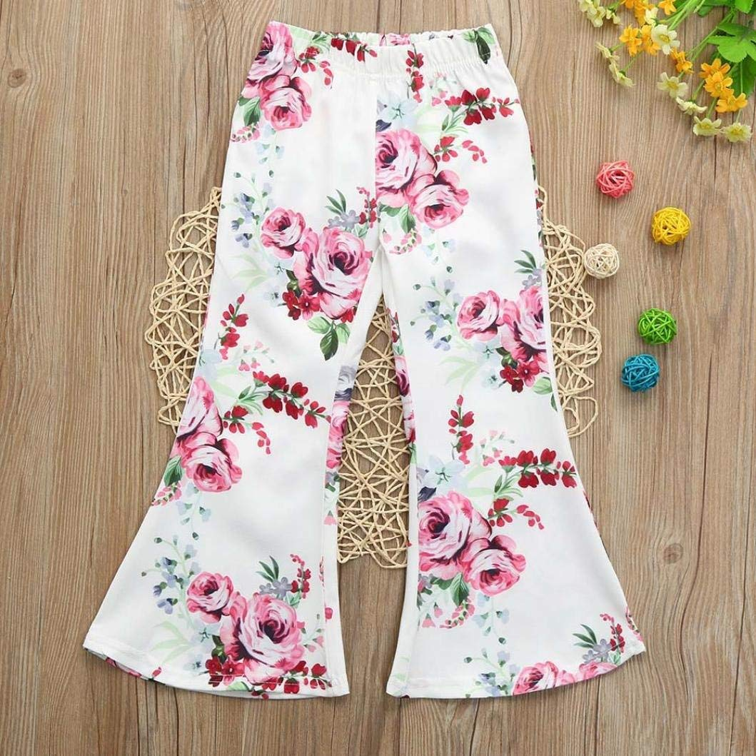 Toddler Baby Girls Floral Print Long Flared Pants Blue//PinkTrousers Outfits Clothes Toddler Baby Outdoor Clothes Set